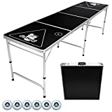 GoPong 8-Foot Portable Folding Beer Pong / Flip Cup Table, Includes 6 Pong Balls