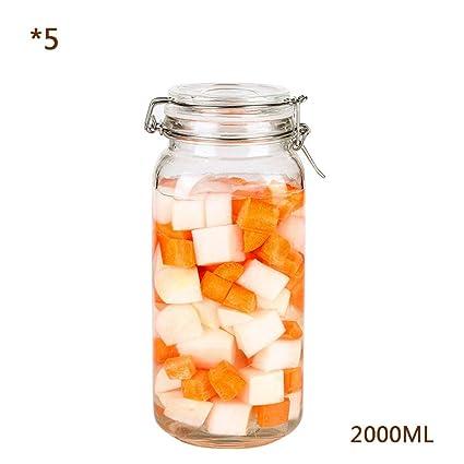 RSTJ-Sjkw Tarro De Almacenamiento 5 Botellas Cuadradas De Vidrio Especia con Tapas De Vidrio