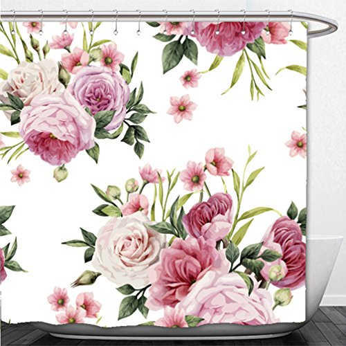 Interestlee Shower Curtain flowers and leaves watercolor can be used as greeting card invitation card for wedding birthday 407879272