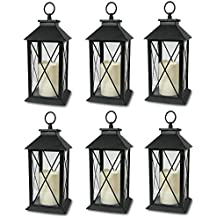6-Decorative Lanterns Cross-X-Design with LED-Flameless Flickering-Candle