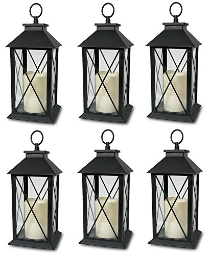6-Decorative Lanterns Cross-X-Design with LED-Flameless Flickering-Candle -