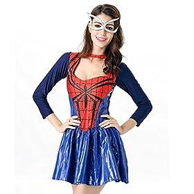 - 51qrMerUuSL - POP Style Women's Halloween Spidergirl Dress Spiderman Cosplay Costume