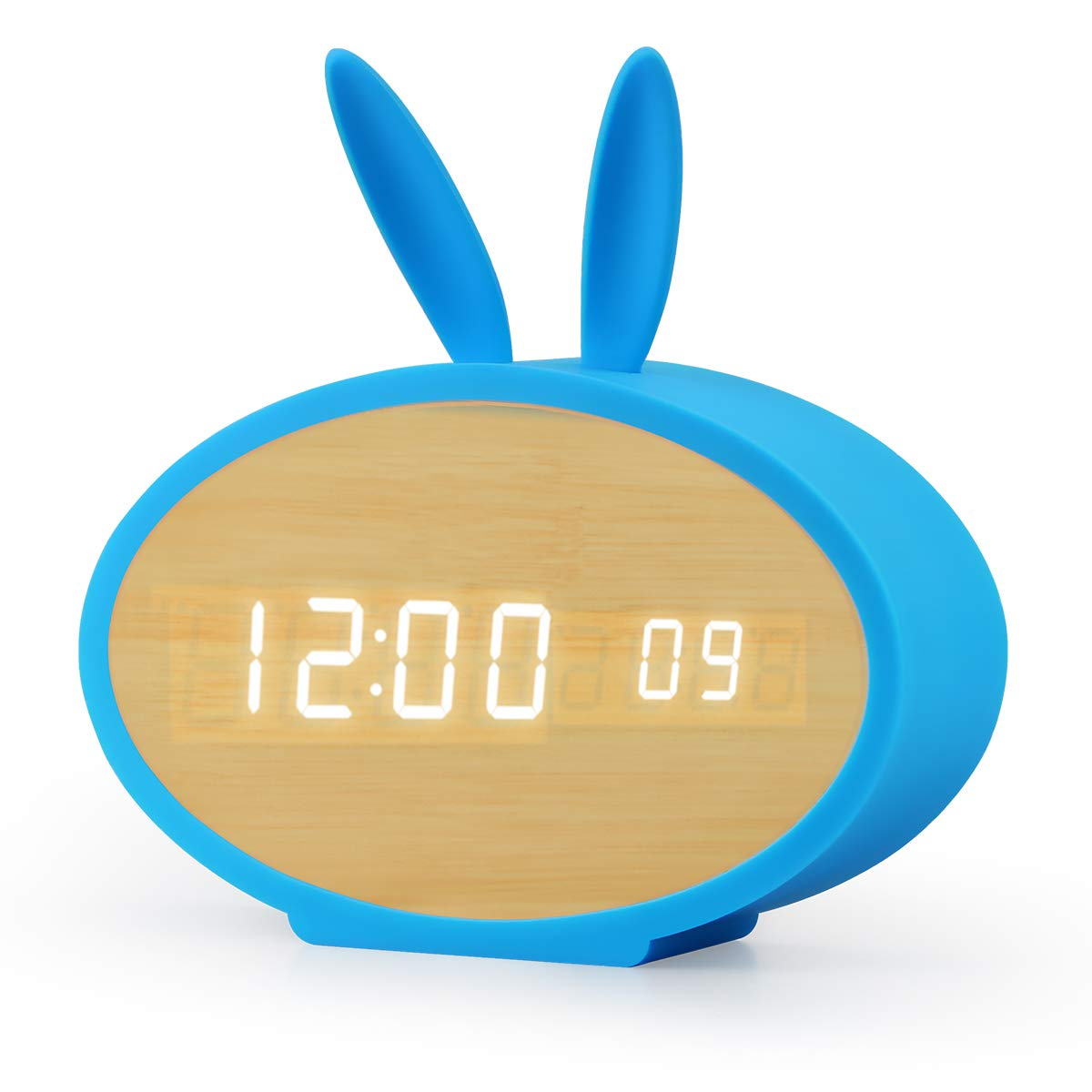 Aitey Alarm Clock, LED Digital Clock for Kids with 3 Alarm and Sound Control, Wood Rabbit Clock for Bedroom, Kids' Room Décor, USB/Battery Powered (Blue)