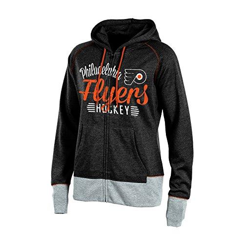 Knights Apparel NHL Philadelphia Flyers Women's Hooded Fleece Jacket, X-Small, Black Heather