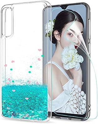 LeYi Compatible con Funda Samsung Galaxy A50 Silicona Purpurina Carcasa con HD Protectores de Pantalla Transparente Cristal Bumper Telefono Gel TPU ...