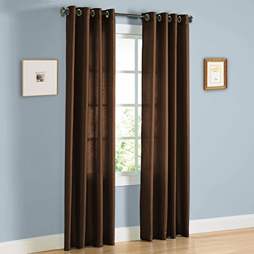 Gorgeous Home 1 Faux Silk Window Curtain Panel 55″ by 63″ Inch Solid Brown Coffee 8 Bronze Grommets Mira