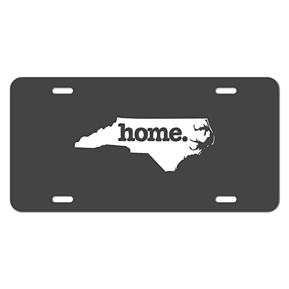 North Carolina NC Home State Novelty Metal Vanity License Tag Plate - Solid Dark Grey Gray
