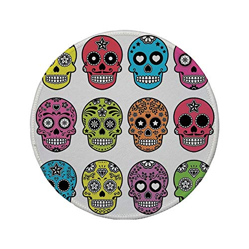 Non-Slip Rubber Round Mouse Pad,Skull,Ornate Colorful Traditional Mexian Halloween Skull Icons Dead Humor Folk Art Print,Multi,11.8