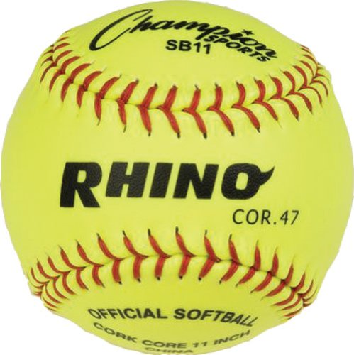Champion Sports 11' Official Softballs: 11-Inch Youth Fastpitch Softball Ball for Games, Practice and Training - Optic Yellow Syntex Cover - Pack of 6