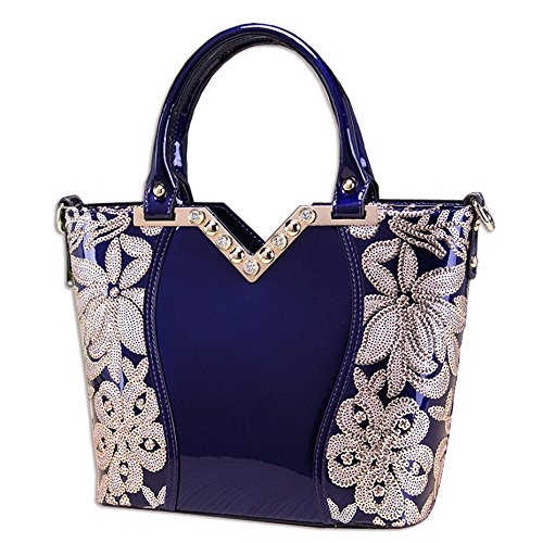 Leather Designer Top Patent Bag handle Handbags Ladies KAXIDY Blue Tote Embroidery wnxYO70ETq