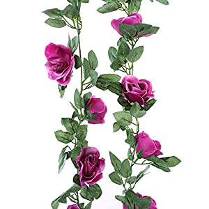 Greentime 2 Pcs Fake Flowers Vine 7.8 FT 16 Heads Silk Artificial Roses Garland Plant for Wreath Wedding Party Home Garden Wall Decoration 4