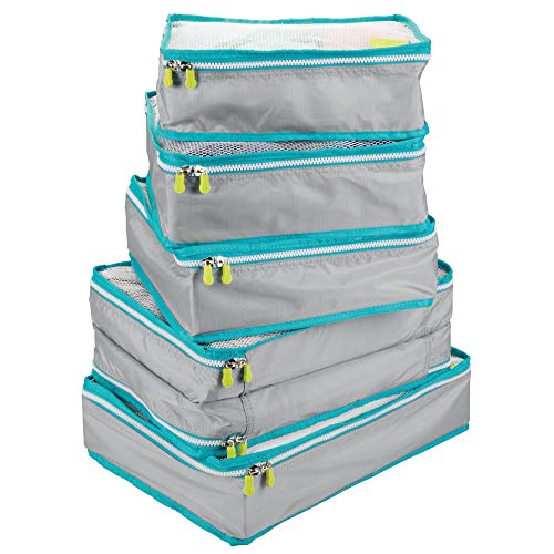 mDesign Versatile Travel Storage Organizer Cubes: Mesh Tops, Integrated Handles and Two-Way Zippers: Perfect for Packing Luggage/Suitcase and Carry-On - Set of 5, Gray/Teal Blue Trim, White Zipper from mDesign