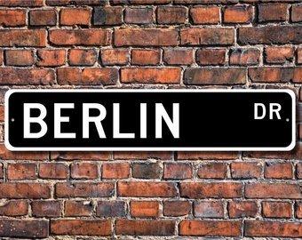 Recuerdo de Berl/ín Berl/ín visitante Ciudad Alemana Mentalsign Berlin Letrero de Berl/ín Berl/ín Regalo se/ñal de Calidad de Metal se/ñal de Calle