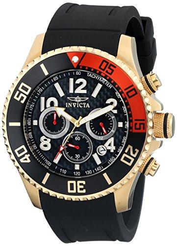 Invicta Men's 13729 Pro Diver Chronograph Black Carbon Fiber Dial Black Polyurethane Strap (Black Carbon Steel Bezel)