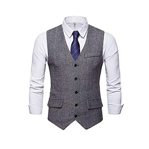 Bmeigo Chaleco de Hombre Tweed Chaleco de Trabajo Casual Slim Fit Traje de Cuello V Cheque Vintage de un Solo Pecho