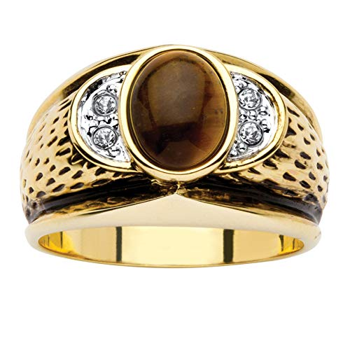 Palm Beach Jewelry Men's 14K Yellow Gold-Plated Antiqued Oval Cut Genuine Brown Tiger's Eye and Round Crystal Ring Size 9
