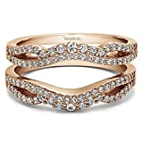 0.41 ct. Forever Brilliant Moissanite by Charles Colvard Double Infinity Wedding Ring Guard Enhancer in Rose Gold Plated Sterling Silver (3/8 ct. twt.)