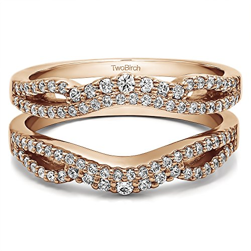 TwoBirch 0.49 ct. Cubic Zirconia Double Infinity Wedding Ring Guard Enhancer in Rose Gold Plated Sterling Silver (1/2 ct. twt.)