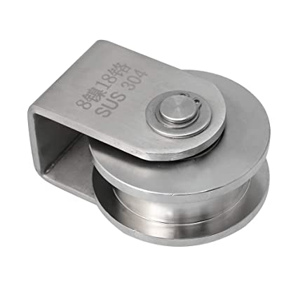 BQLZR Rueda de acero inoxidable 304 de 73 mm de diámetro con rodamiento de carril tipo