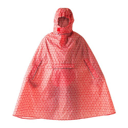 (IKEA KNALLA Rain Poncho, red, White)
