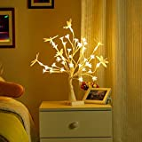 Finether Table Lamp Adjustable Dragonfly and Cherry Flower Desk Lamp  1.47 ft Tree Light for Wedding Living Room Bedroom Party Home Decor with 36 Warm White LED Lights Two Mode: USB/Battery Powered