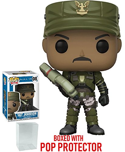 Funko Pop! Games: Halo - Sergeant Johnson Vinyl Figure (Bundled with Pop Box Protector Case)