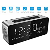 Soundance Large Screen Radio Alarm Clock Bluetooth Speaker with premium HD sound & big LED screen for time/date/temperature, 3.5mm Aux/Micro SD/TF/ USB Input Model A10