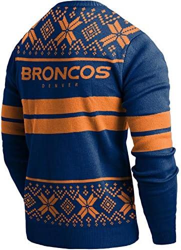 Forever Collectibles FOCO - Maglione LED per Natale, Lavorato a Maglia, NFL Denver Broncos