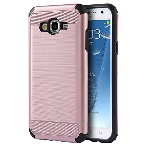 Samsung Galaxy J5 J500 2015 Case - Hybrid Hard Shockproof Case Heavy Duty Protective Brushed Phone Armor Protector Cover - Rose Gold