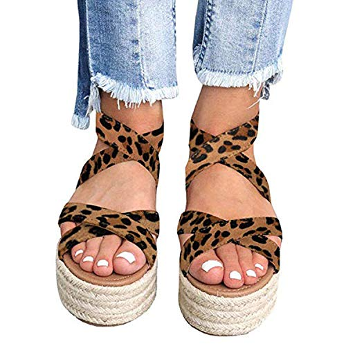 XMWEALTHY Women's Platform Wedges Heel Sandals Summer Strappy Open Toe Espadrilles Sandals Size 9 Leopard