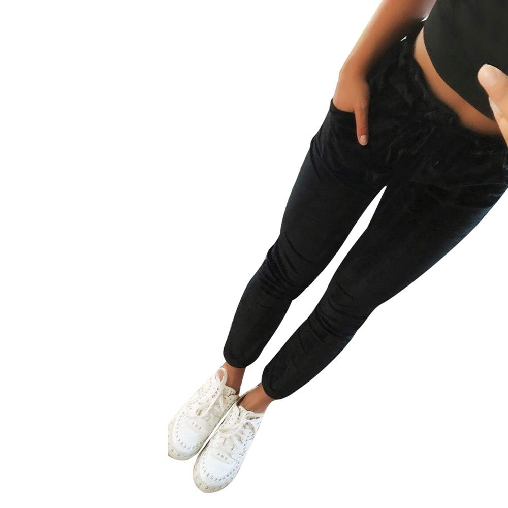 OHQ Damen Hosen Elegant High Waist Stretch Chiffon Skinny Hosen Pants Casual Streetwear Hosen mit Tunnelzug