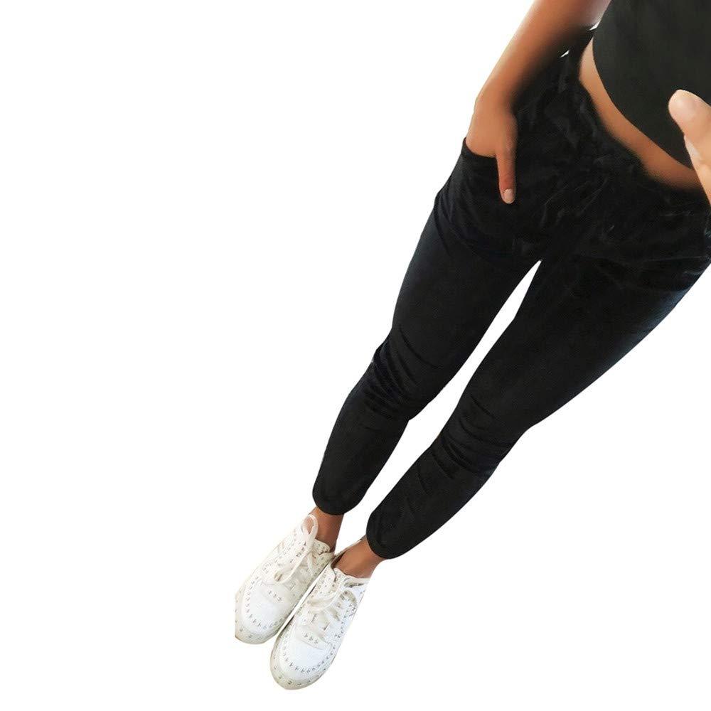 Women Harem Pants ❤ Lady Bandage Elastic Waist High Waist Pants Pure Color Trousers Leisure