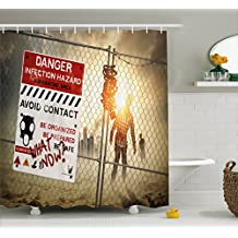 Zombie Decor Shower Curtain by Ambesonne, Dead Man Walking Dark Danger Scary Scene Fiction Halloween Infection Picture, Fabric Bathroom Decor Set with Hooks, 70 Inches, Multicolor