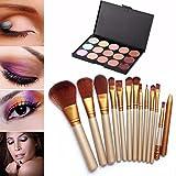 Creazy 15 Colors Contour Face Cream Makeup Concealer Palette Professional + 12 Brush