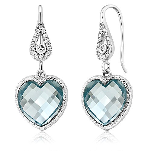Heart Shape Aquamarine Earrings - 9
