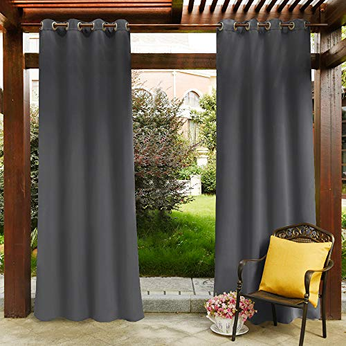 PONY DANCE Outdoor Drape Panels - Light Block Thermal Insulated Water Repellent Blackout Curtains Drapery with Grommets for Garden Pergola, 52