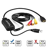 RCA to HDMI Converter, Tackston RCA Composite CVBS AV to HDMI 1080P Video Audio Converter Adapter for PS2 Wii Xbox NES N64 VHS VCR Camera DVD PC Laptop