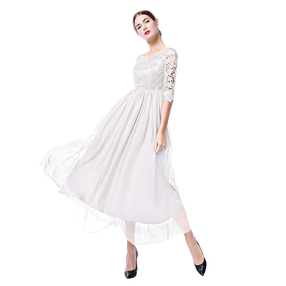 IWEMEK La Mujer Encaje Manga 3/4 Vestido de noche Elegante Largo Tul Rendija Swing Vestido de Baile Cóctel Vestido de Fiesta Vestido de Noche la Dama de ...