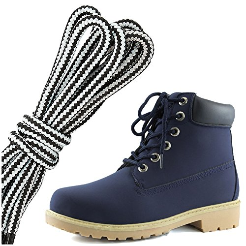 DailyShoes Womens Lace-Up Ankle Padded Collar Work Combat Hard Toe Booties, White Navy Black Pu