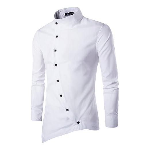 b479ffb7cccbf Camisas hombre Ocasional puerta oblicua solapa irregular cuello manga larga  camisa invierno caliente dinero