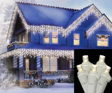 Set of 70 Warm Clear LED Wide Angle Twinkle Icicle Christmas Lights - White Wire