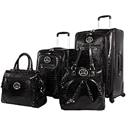 Kathy Van Zeeland Croco PVC Luggage Set 4 Piece Expandable Suitcase with Spinner Wheels (One Size, Black)