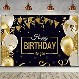 Best Epic Trends 51qrQrO1rlL._SS300_ Happy Birthday Backdrop Banner Extra Large Black and Gold Sign Poster for Men Women Birthday Anniversary Party Photo…