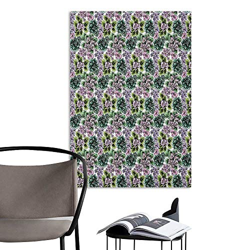 Violet African Flowering (Camerofn Wall Mural Wallpaper Stickers Floral Flowering Plants Gardening African Violet Peonies Hydrangea Foliage Illustration Multicolor Room Bedside W8 x H10)