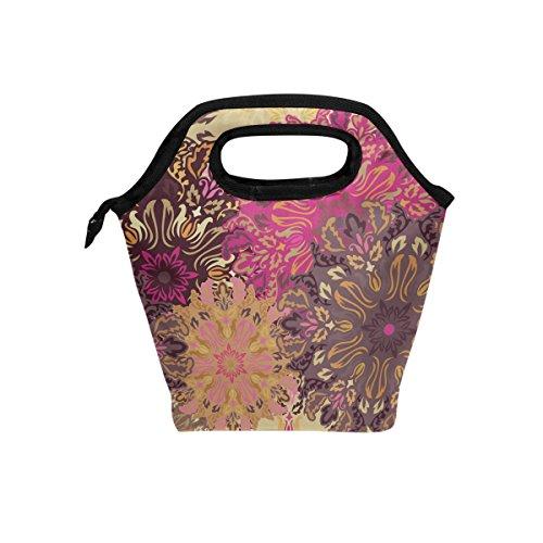Senya Lunch Tote Bag Vintage Mandala Floral Neoprene Insulated Cooler Warmer, Portable Funny Lunchbox Handbag for Men Women Adult Kids Boys Girls -
