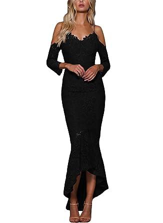 bef0c51c93ec6 ROSKIKI Women Elegant Cold Shoulder Bodycon Long Formal Evening Mermaid  Dress