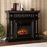 Southern Enterprises Donovan Electric Fireplace, Black Finish and Gold Accents