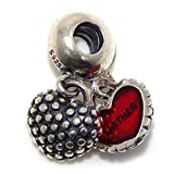 925 Solid Sterling Silver Dangling Two-piece Mother/Daughter Red Hearts Charm Bead