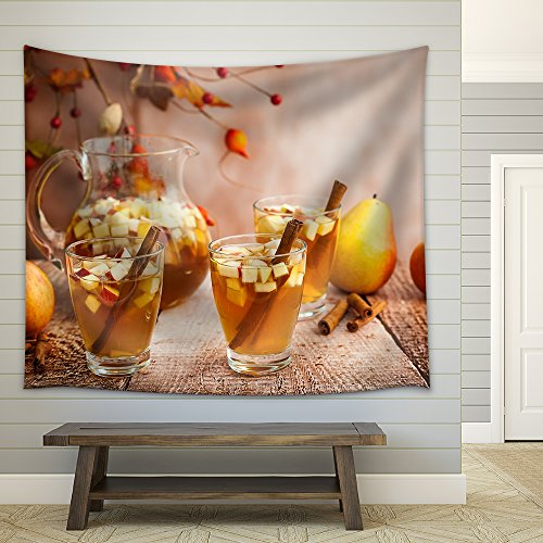 Autumn Sangria with Apples Pears and Cinnamon Fabric Wall Tapestry