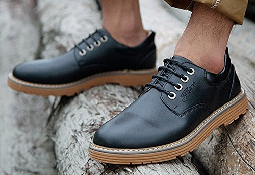 Diffyou Menns Kjole Tykk Low Cut Skinn Oxfords Sko Svart
